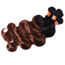 $enCountryForm.capitalKeyWord UK - Brazilian Ombre Human Hair 3 Bundles Two Tone 1B 30 Auburn Brown Hair Weave Wholesale Body Wave Virgin Human Hair Extensions