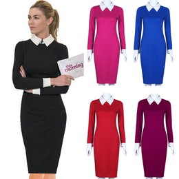 690ca884c6 Black Office Dresses Women Autumn New Arrivals Fashion Long Sleeve Pencil  Dress Ladies Casual Work Dress With White Collar