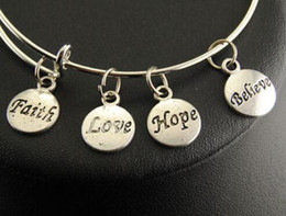faith hope love wholesale jewelry UK - Vintage Silver Faith Love Hope Believe Charms Bangle Expandable Wire Charm Bracelet Bangles For Women Jewelry Fashion Craft Gift Adjustable