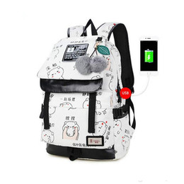 Backpack White Canada - female fashion letters printing backpack usb bag for laptop women travel bags white canvas school backpack for girls