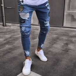 skinny apparel 2019 - Casual Slim Fit Jeans New Models Fashion Skinny Denim Trousers Hole Pasted Striped Men Apparel Jeans Pants cheap skinny