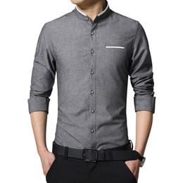 korean fitted dress 2019 - New Fashion Casual Men Shirt Long Sleeve Mandarin Collar Slim Fit Shirt Men Korean Business Mens Dress Shirts Clothes M-