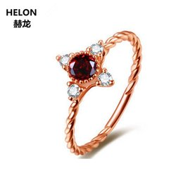 b9fe5e727f5 3mm Round Garnet Solid 14k Rose Gold Natural Diamonds Engagement Wedding  Ring for Women Anniversary Party Classic Fine Jewelry