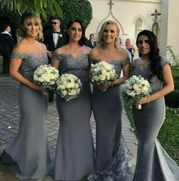 Discount mermaid zipper grey wedding dress - 2018 Grey Long Bridesmaid Dresses With Lace Off Shoulder Cap Sleeves Mermaid Wedding Party Dress Maid of Honor Gowns