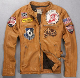 46977adc1 Avirex jAckets online shopping - Yellow Avirexfly men motorcycle genuine leather  jacket AERO RIDERS AVIREX AERONAUTICS