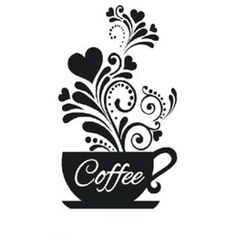 3c5ccfba65 Coffee Cup with heart wall stickers vinyl quote Restaurant Kitchen  removable wall Stickers DIY home decor art Drop Shipping