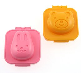 Rice Mould Wholesale NZ - 2 Pcs set Plastic Rabbit And Bear Egg Mold Rice Mould For Kids Breakfast Kitchen Gadgets