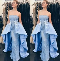 online shopping 2018 Strapless Evening Dresses Sheath Sleeveless Prom Gowns With Lace Applique Sky Blue Back Zipper Custom Made Formal Party Gowns
