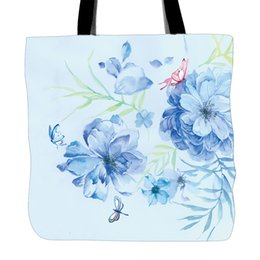 bag hand printed flowers Canada - Hello Spring Flowers Printing Tote Bag For Shopping Travel School Used White Canvas Hand Bags With Double Sided Printing