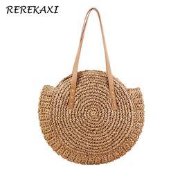 China REREKAXI Hand-woven Round Woman's Shoulder Bag Handbag Bohemian Summer Straw Beach Bag Travel Shopping Female Tote Wicker Bags Y1891204 cheap hand phone shop suppliers