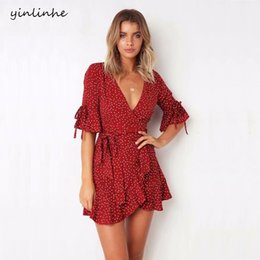 Wholesale yinlinhe Red Polka Dot Summer Dress Short Sleeve V neck Sexy Wrap Dress Women Dress Slim Waist Elegant Boho Ruffles Vestidos D1891704