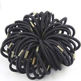 Discount ponytail hair black women - EPACKET ! 100PCS Lot New High Quality Women Colorful Elastic Hair Rubber Band Black Hair Rope Ponytail Holder Girl Hair
