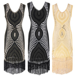 Sequins Латинское платье для танцев Great Gatsby Dress Flapper Girls Dresses Plus Размер без рукавов Fringe Tassel Party Mini Dresses
