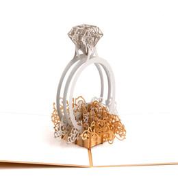 Gros Laser Cut 3D Ring Pop Up Mariage Invitations Romantique Handmade Valentine S Day Pour Lover Postcard Carte De Voeux Cadeau