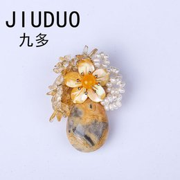 $enCountryForm.capitalKeyWord UK - JIUDUO Natural Pearl Glass Crystal Brestpin Flower Brooches Waterdrop Pearl Hand Knitting Beautiful Ladies Brooches