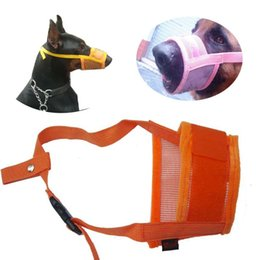 Bite mask online shopping - Mask Adjustable Size Breathable Pet Dog Mouth Sleeve Supplies Thickened Magic Sticker Bite Proof Anti Eat Flannelette Protect Creative dd V