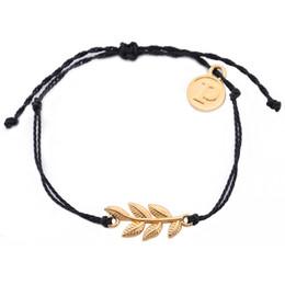 $enCountryForm.capitalKeyWord NZ - Minimal Brand Fashion Jewelry with letter P gold leaf round charm rich black South Americanblack wax line bracelet jewelry