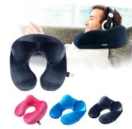 travel neck pillows for airplanes 2018 - U-Shape Travel Pillow for Airplane Inflatable Neck Pillow Travel Accessories Comfortable Pillows Accessories comfortable