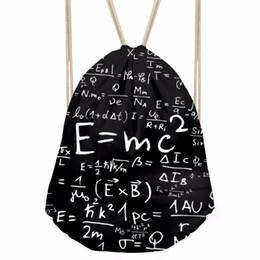 $enCountryForm.capitalKeyWord Australia - Black Funny E-MC2 Printing Drawstring Bags for Gym Sport Outdoor Backpack for School
