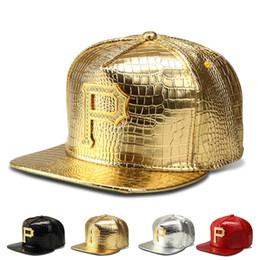 Hat diamond logo online shopping - Luxury Crocodile Grain Pu Leather Hip Hop Hats Snapback Golden P Logo Diamond DJ Baseball Caps Men Women Sport Breakdancing Casquette