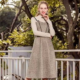 7241709fb4 Braces skirt Two pieces of sling skirt Deer skin velvet Khaki sweater long  skirt