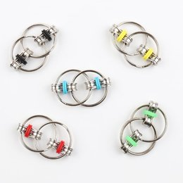 wholesale gyro ring toy NZ - Fidget Spinner Key Ring Metal Gyro Toys Professional EDC Stress Release Toy for Kids VS Hand Spinner Fidget Chain Spinner Toy