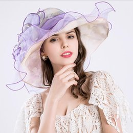 novelty flower hat NZ - High quality cotton and linen silk fashion embroidery flower shape Wide Brim Hats Lady etiquette hat head decoration cap