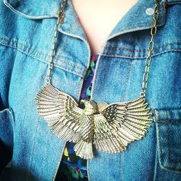 $enCountryForm.capitalKeyWord Canada - Retro Eagle Bird Metal Pendants Chunky Choker Necklace Vintage Hawk Collar Necklace For Women
