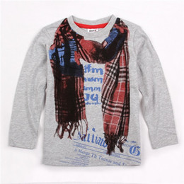 $enCountryForm.capitalKeyWord Canada - 2017 Free shipping novatx gray white ceeam new arrival childre clothes long sleeve t-shirt for baby boys printed withscarf fashion