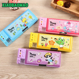 box student pencil 2019 - 4 color hot selling cute pencil case multifunctional double layer pencil box with sharpener student stationery discount