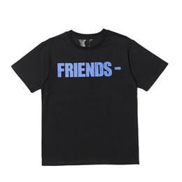 White Shorts UK - Best Version Vlone FRIENDS Printed Women Men T shirts tees Hiphop Streetwear Blue Friends Vlone Cotton Short Sleeve Men T shirt