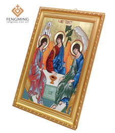 Art Church Australia - Orthodox Church Supplies Classic Wall Decoration Religious Picture Icon of the Holy Trinity Plastic Frame Russian Byzantine Art