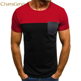 ef8e6100d41 KLV Hot Sale Men Muscle T-Shirt Slim Casual Fit Short Sleeve Patchwork  Pocket Top