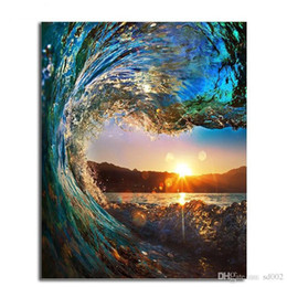 Fabric spray paints online shopping - Acrylic Oil Painting Vintage Color Wonderland Ocean Horizon Sunrise DIY Hand Painted Linen Fabric Frameless Paintings ls bb