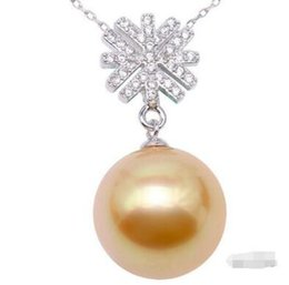 $enCountryForm.capitalKeyWord UK - Free Shipping Wholesale price ^^^NEW 12-13mm Round Golden South Sea Pearl Pendant Sterling Silver