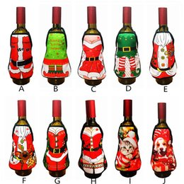 Decoration For Party Tables NZ - Mini Xmas Apron Wine Bottle Cover Set New Year Dinner Party Table Decoration Santa Aprons Christmas Decoration for Home LE109