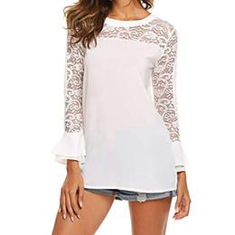 $enCountryForm.capitalKeyWord Australia - Women Chiffon Blouse 2019 Autumn Sexy Lace Patchwork Flare Long Sleeve Shirt Solid O Neck Casual Office Tops Camisa Feminina XL