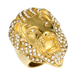 $enCountryForm.capitalKeyWord UK - Lujoyce HIPhop Lion Head Ring Micro Pave Rhinestone Iced Out Bling Mens Ring IP Gold Filled Titanium Stainless Steel Rings for Men Jewelry