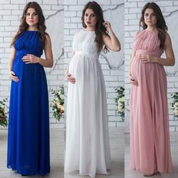200dbc093 Vestido de maternidad embarazo ropa dama elegante Vestidos mujeres  embarazadas gasa fiesta formal vestido de noche sesión de fotos vestidos  largos