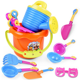sand tools 2019 - 9Pcs set New Arrival Baby Kids Sandy beach Toy Dredging tool Beach Bucket Sunglass Baby playing with sand water toys B c