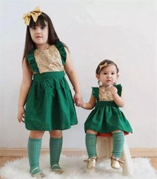 Discount little girls casual party dresses - INS New Baby Girls Red & green Xmas Christmas dress Sleeveless Summer Kids Dress Robe Enfant Fille Little Girls Sequins