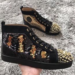 Discount men spike stud shoes - Original Box Red Bottom Sneakers Shoes Luxury Designers Gold Studs Toe Spikes Men,Women High Top 1.1 Casual Walking Shoe