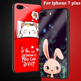 cartoon tempered glass iphone UK - Fashion cartoon Tempered Glass Back Case For iphone 7 plus Protective Cases For iphone7 plus case shell For iphone 7plus fundas