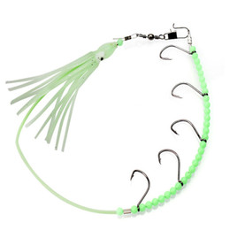 China 5pcs pack Luminous Fishing Lure Daisy Chain Squid Octopus Rigged Hooks Saltwater Soft Baits Trolling Lure Chain Rig cheap lure rigs bait jigs suppliers