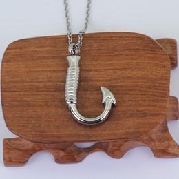 Fish Hook Pendants NZ - Four colors Stainless Steel Fish Hook Memorial Cremation Ash Urn Pendant Keepsake Necklace P612