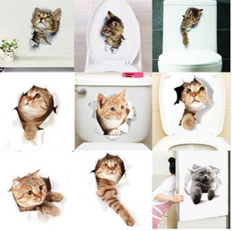 Chinese 3d Wall Stickers Australia - Hole View Vivid Cats Dog 3D Wall Sticker Bathroom Toilet Living Room Kitchen Decoration Animal Vinyl Decals Art Sticker Poster