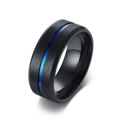 Black Ring Engrave UK - Free Engraving 8mm Blue Inlay Black Brushed Anniversary Rings in Stainless Steel Comfort Fit Wedding Band
