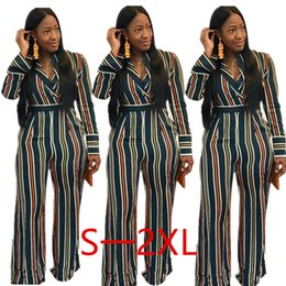 green long sleeve pants jumpsuit Australia - 2019 Newest Dark Green Striped Long Sleeves Women Jumpsuits V Neck Long Striaght Pants Sets Party Jumpsuits Outfits