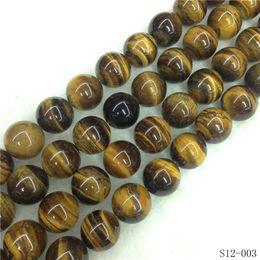 144 pçs / lote 8mm MAIS BARATOS Contas de Pedra Natural Amarelo Olho de Tigre Rodada Solta Pérolas Para Fazer Jóias DIY