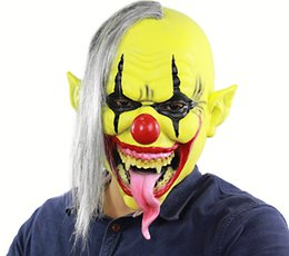 christmas costumes men 2019 - Scary Clown Mask Halloween Latex Full Face Mask Cosplay Horror masquerade mask Ghost Party Creepy Evil Scary Costume dis